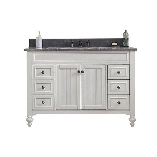 Potenza 48-inch W Vanity in Earl Grey with Granite Top in Blue Limestone