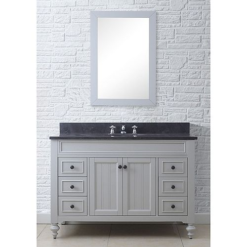 Water Creation Potenza 48-inch W Vanity in Earl Grey with Granite Top in Blue Limestone and Matching Mirror