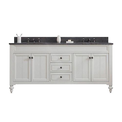 Potenza 72-inch W Vanity in Earl Grey with Granite Top in Blue Limestone