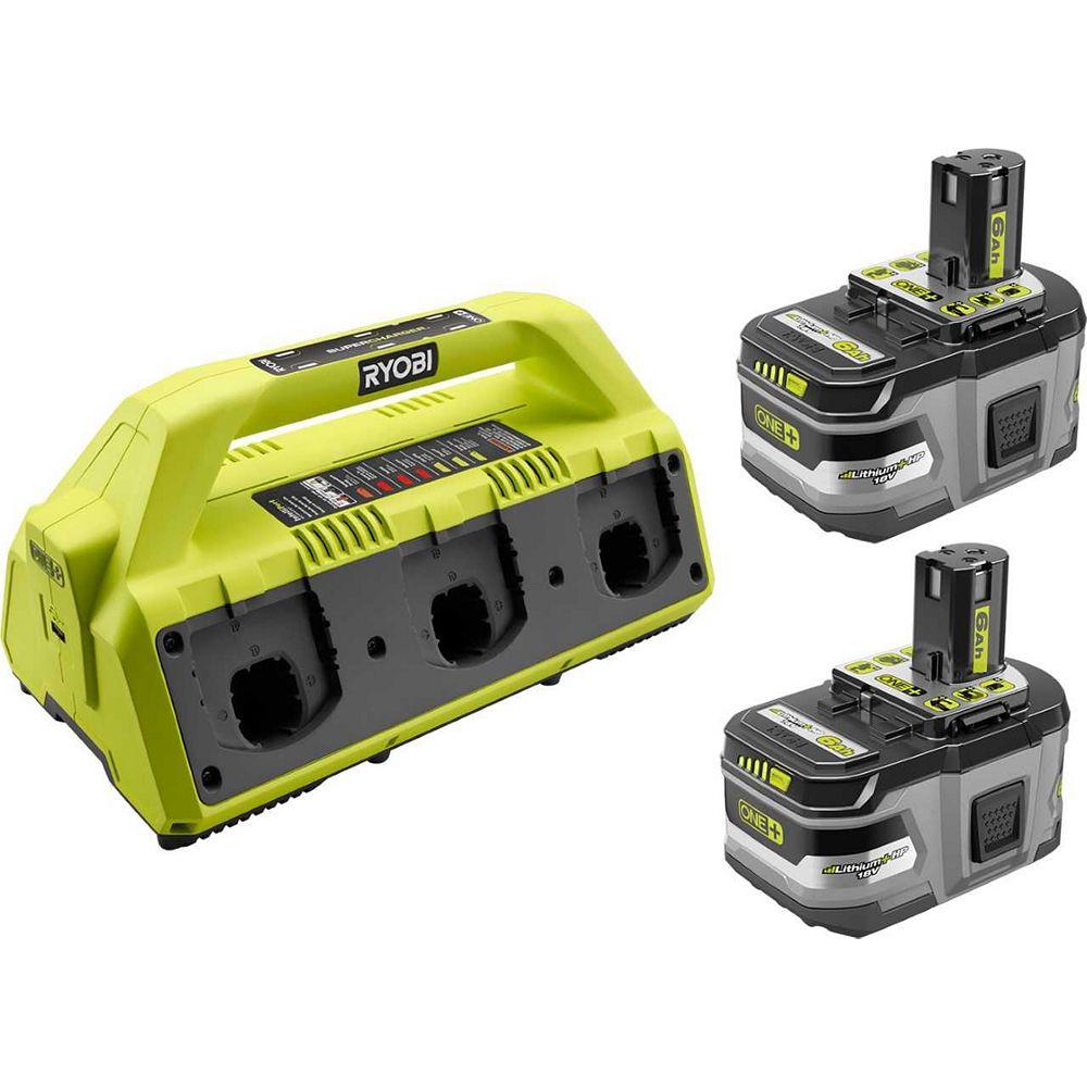 RYOBI Kit de suralimentation 18V ONE+ 6-Port Double Chimie avec (2) Batteries LITHIUM+ de 6,0 Ah