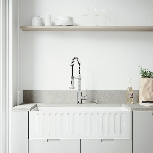 All-in-One 36 inch Matte Stone Single Bowl Undermount Kitchen Sink with Pull Down Faucet in Chrome and Soap Dispenser