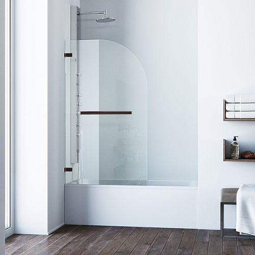Orion 34 po. L x H 58 po. Porte de baignoire pivotante sans cadre en bronze frotté antique avec verre clair