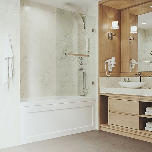 Rialto 34 inch x 58 inch Bathtub Door with .3125 inch Clear Glass and Chrome Hardware