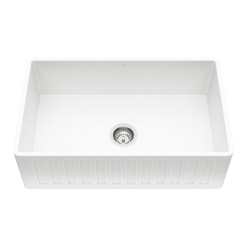 Farmhouse Composite 30-inch Single Bowl Kitchen Sink with 1 Strainer in Matte White Stone