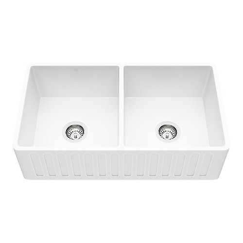 Matte Stone Farmhouse Composite 33 inch 50/50 Double Bowl Kitchen Sink with 2 Strainer in Matte White