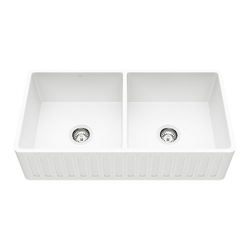Matte Stone Farmhouse Composite 36 inch 0-Hole 50/50 Double Bowl Kitchen Sink with 2 Strainers in Matte White