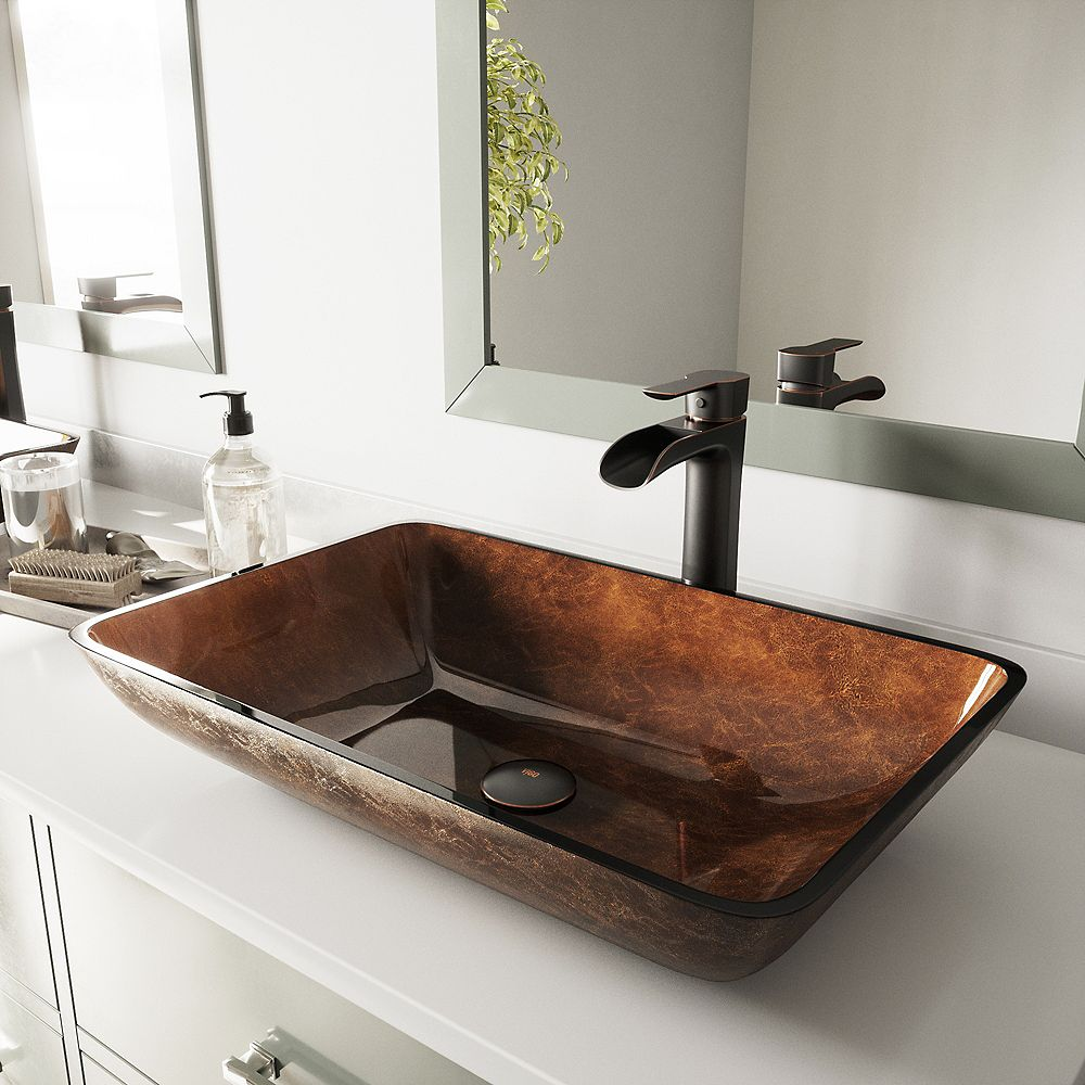 VIGO Glass Rectangular Vessel Bathroom Sink in Chocolate Brown with Niko Faucet and Pop-Up Drain in Antique Rubbed Bronze