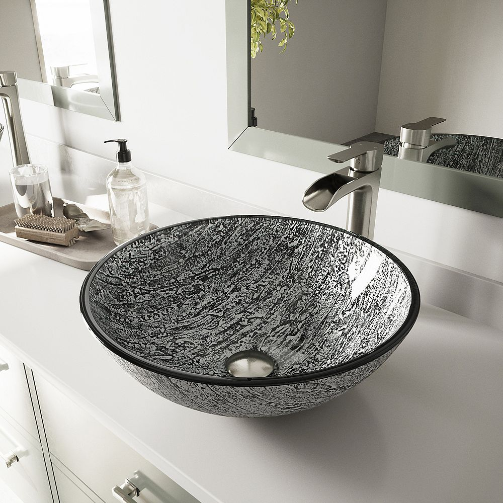 VIGO Glass Vessel Titanium Bathroom Sink With Niko Vessel Faucet In Brushed Nickel