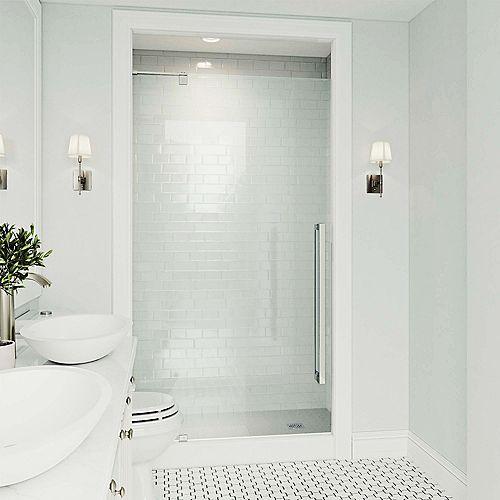 VIGO Cameo 36X74 Adjustable Frameless Pivot Shower Door In Stainless Steel