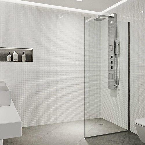 Paroi de douche en verre fixe sans cadre Zenith de  34X74 en chrome