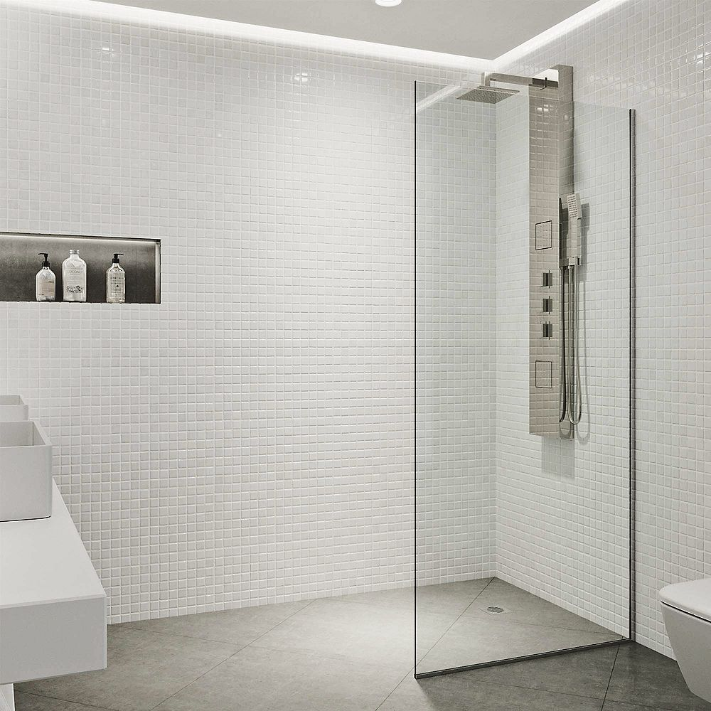 VIGO Zenith 34 inch x 74 inch Frameless Fixed Shower Screen in Stainless Steel with Clear Glass