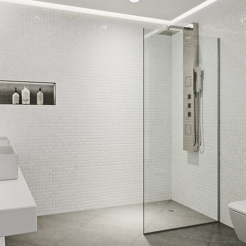 Zenith 34 in. W x 74 in. H Fixed Frameless Shower Door in Stainless Steel with Clear Glass