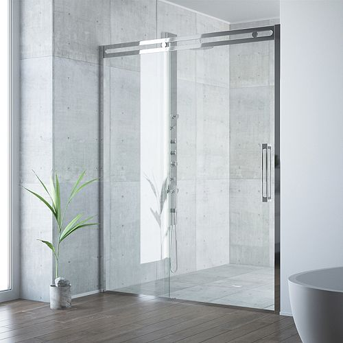 VIGO Erie 59-1/2 to 60-1/2 inch x 73.5 inch Framed Sliding Shower Door in Chrome with Clear Glass and Handle