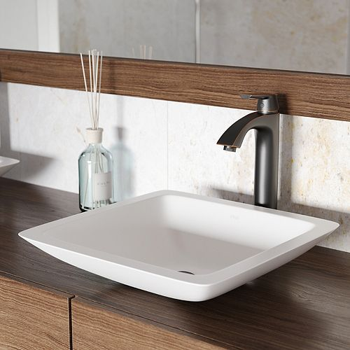 VIGO Begonia Matte Stone Vessel Bathroom Sink in White with Linus Vessel Faucet in Antique Rubbed Bronze