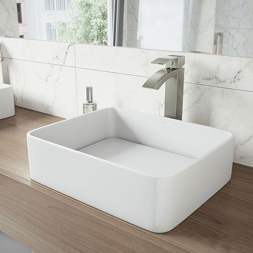 VIGO Jasmine Matte Stone Vessel Bathroom Sink in White with Duris Vessel Faucet in Brushed Nickel