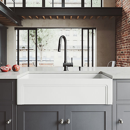 All-in-One Farmhouse Matte Stone 36 inch Single Bowl Kitchen Sink with Gramercy Faucet in Matte Black