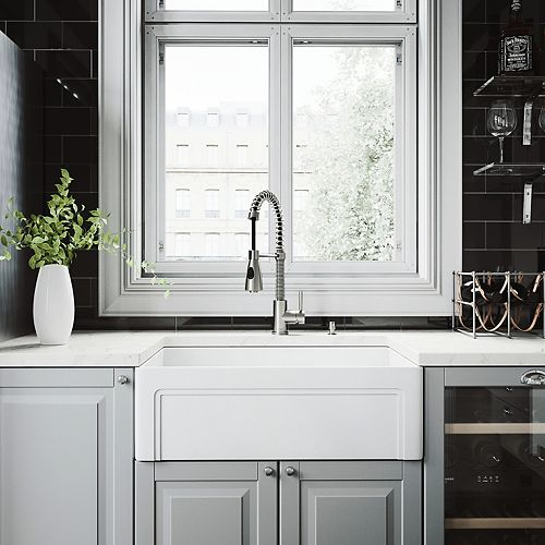 VIGO All-in-One Farmhouse Matte Stone 30 inch Single Bowl Kitchen Sink with Brant Faucet in Stainless Steel