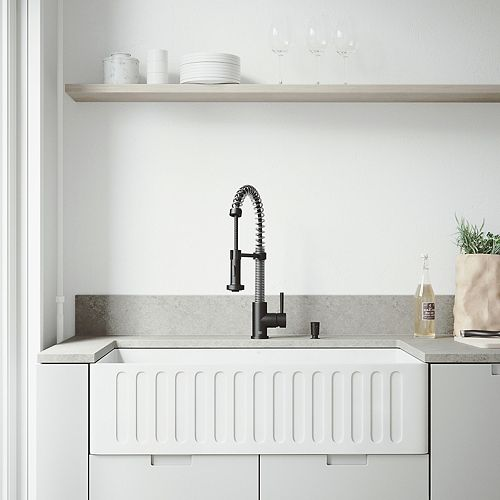 All-in-One 36 inch Matte Stone Single Bowl Undermount Kitchen Sink with Pull Down Faucet in Matte Black & Soap Dispenser