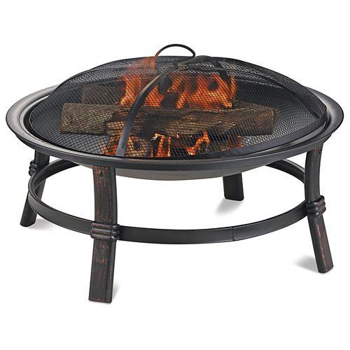 Brushed Copper Wood Burning Fire bowl