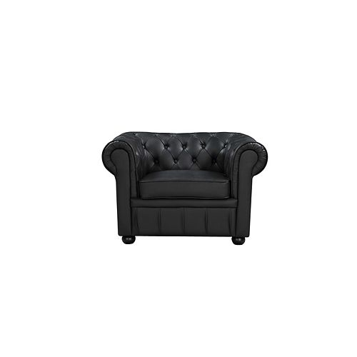 Avignon Classic Brown Genuine Leather Chesterfield Tufted Armchair