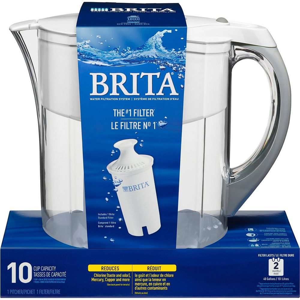 Brita Grand Water Filter Pitcher, with 1 Replacement Filter, White, 10 Cup