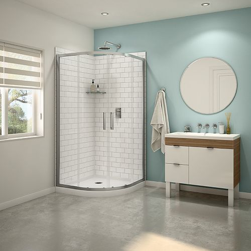 Sakura Neo-Round 38-inch x 38-inch x 74.5-inch Shower Kit in Chrome