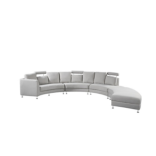 Rossini Modern Circular Sectional Sofa in Light Grey Polyester