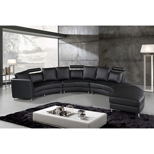 Rossini Modern Black Genuine Leather Circular Sectional Sofa