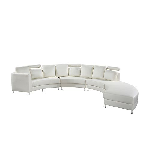 Rossini Modern Cream Genuine Leather Circular Sectional Sofa
