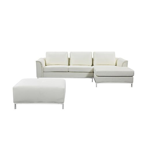 Ollon Cream Right-Facing Leather Sectional Sofa