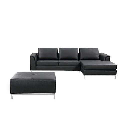 Ollon Right-Facing Leather Sectional Sofa in Black