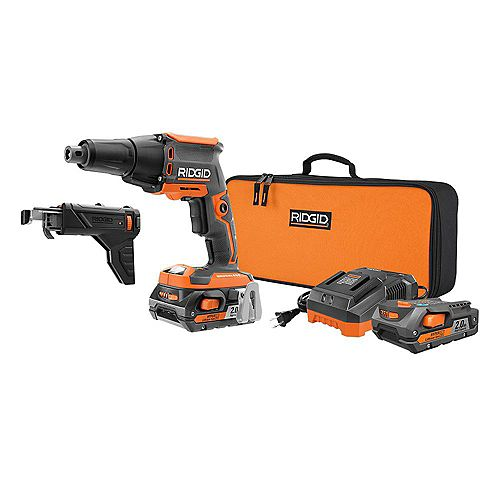 18-Volt 1/4-inch Brushless Drywall Screwdriver Kit with Collated Attachment