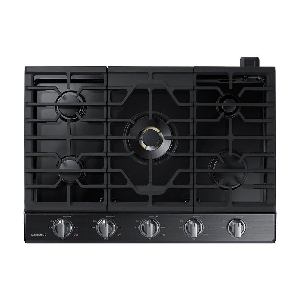 Samsung Table de cuisson à gaz de 30 po en acier inoxydable noir avec 5 brûleurs, y compris un brûleur à double puissance