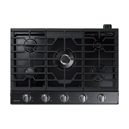 30-inch Gas Cooktop in Black Stainless Steel with 5 Burners including Dual Power Burner