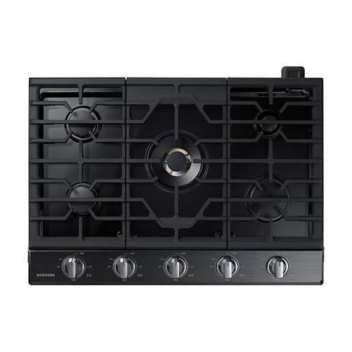Table de cuisson à gaz de 30 po en acier inoxydable noir avec 5 brûleurs, y compris un brûleur à double puissance
