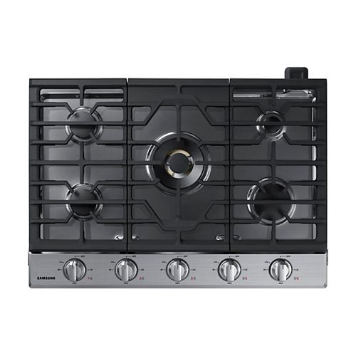 30-inch Gas Cooktop in Stainless Steel with 5 Burners including Dual Power Burner