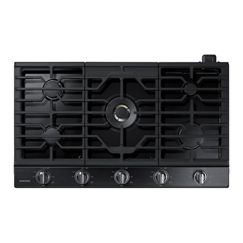 36-inch Gas Cooktop in Black Stainless Steel with 5 Burners including Dual Power Burner