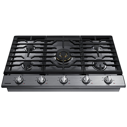 36-inch Gas Cooktop in Stainless Steel with 5 Burners including Dual Power Burner