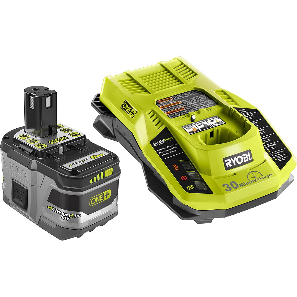 RYOBI 18V ONE+ Lithium-Ion LITHIUM+ HP 9.0 Ah High Capacity Battery Starter Kit with 18V IntelliPort Rapid Charger
