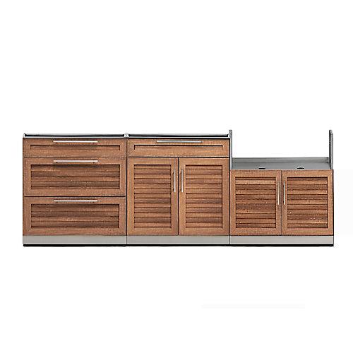 Outdoor Kitchen Grove  3-Piece 97 inch W x  36.5 inch H x 24 inch D  Cabinet Set