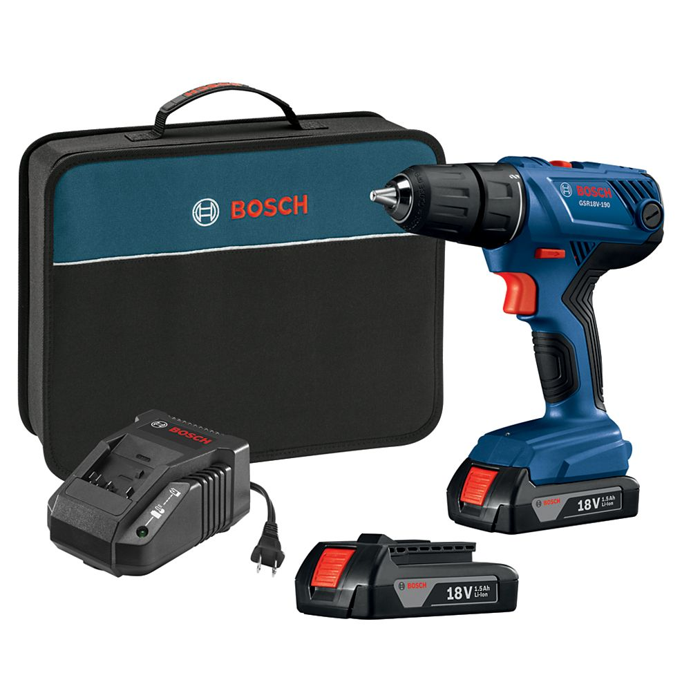 Bosch 18V Compact 1/2-inch Drill/Driver Kit with (2) 1.5 Ah SlimPack Batteries