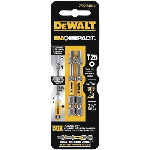 DEWALT MAX Impact 25 x 2-1/2 pouces acier Tournevis Torx à percussion (2PK)
