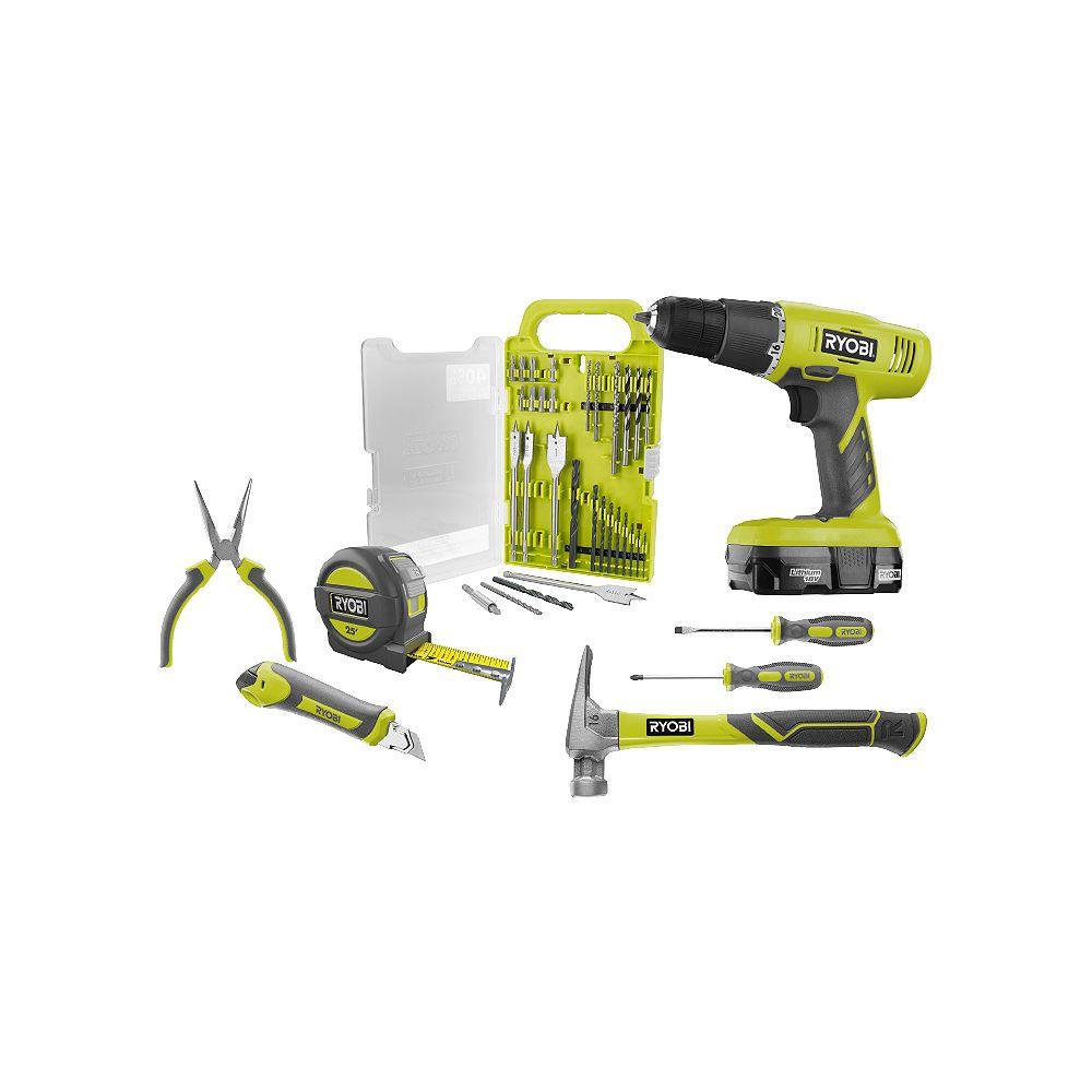 RYOBI 18V ONE+ Cordless Drill Driver Starter Kit