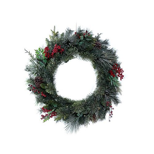 Home Accents 30-inch 35-Light Dusted Hillside Pre-Lit Christmas Wreath
