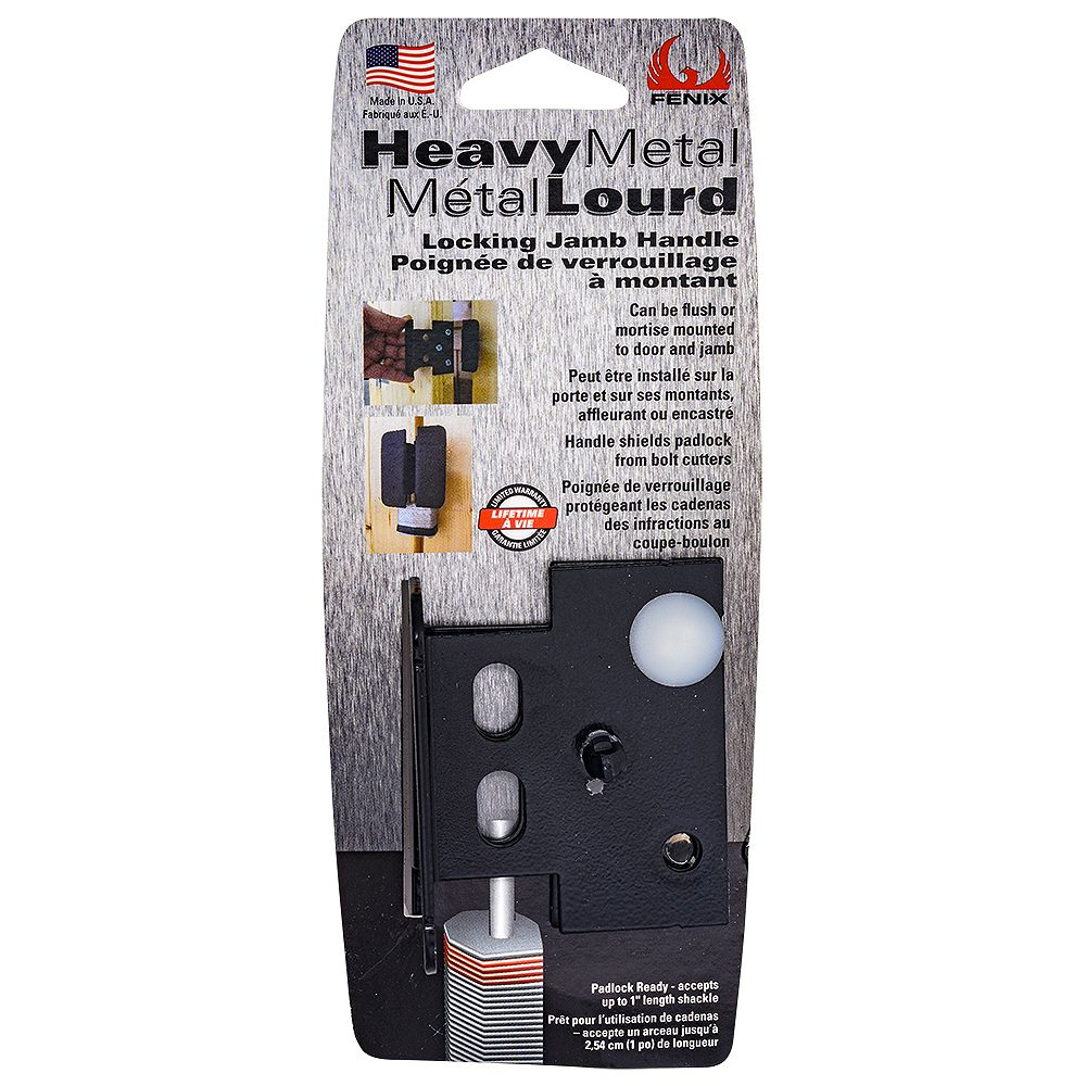 FENIX Fenix Heavy Metal Locking Jamb Handle, Black, 1pc