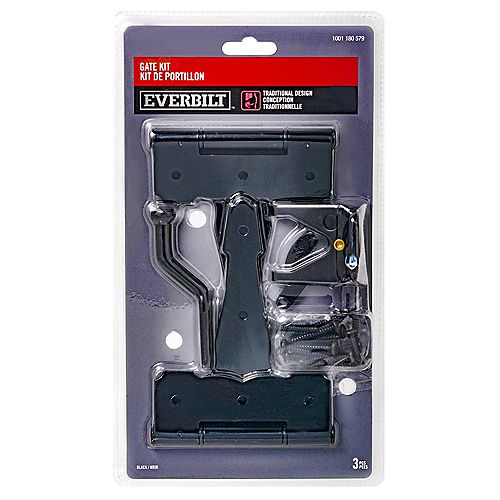 Everbilt Traditional Design Gate Kit, Noir, 3pcs