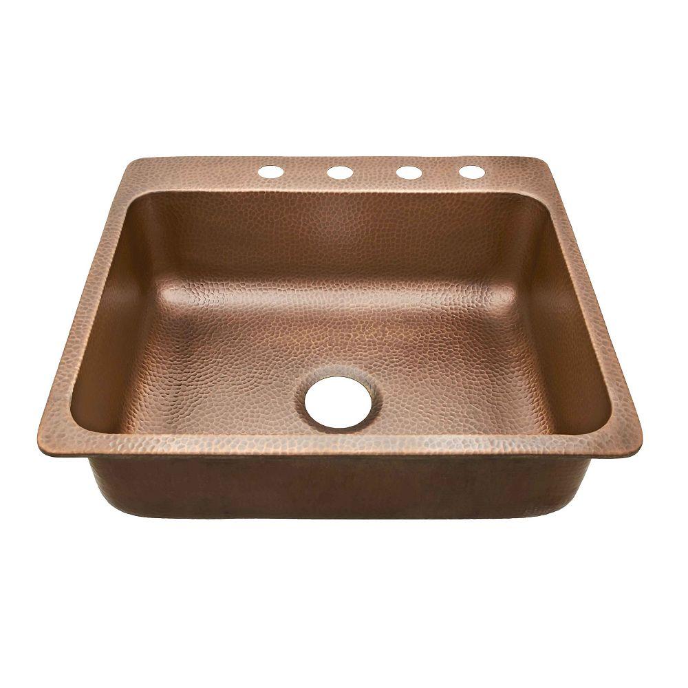 Sinkology Rosa Drop In Copper Sink 25-inch 4-Hole Single Bowl Copper Kitchen Sink in Antique Copper