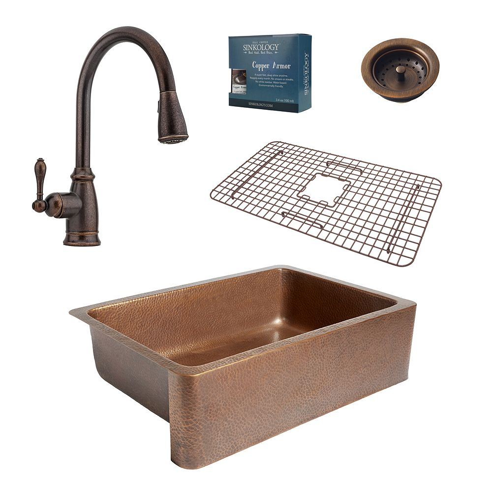 Sinkology Adams Farmhouse Copper Kitchen Sink Combo with Strainer Drain and Pfister Faucet in Bronze