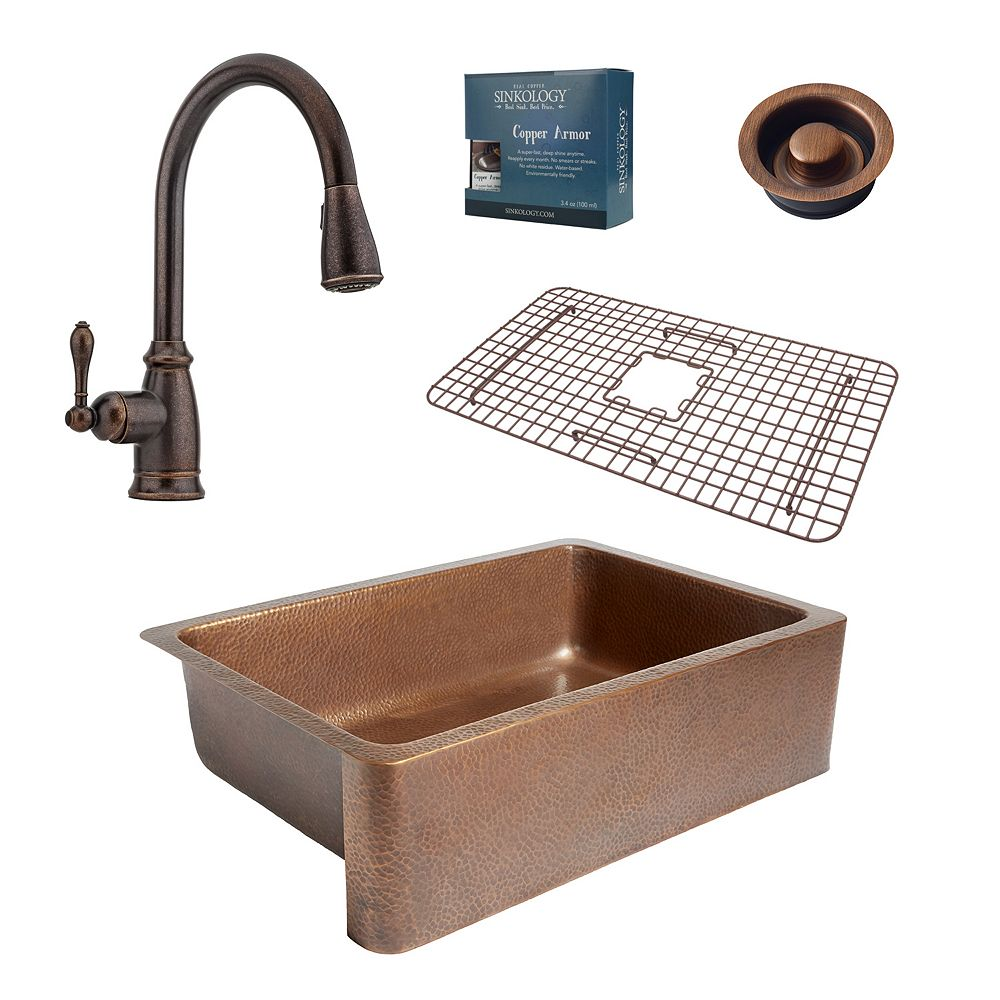 Sinkology Adams Farmhouse Copper Kitchen Sink Combo with Disposal Drain and Pfister Faucet in Bronze