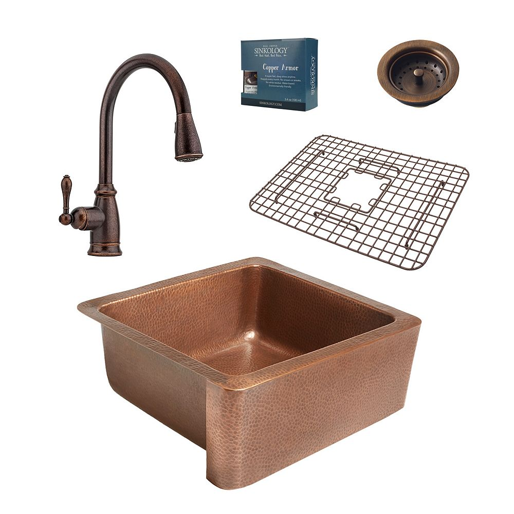 Sinkology Monet All-in-One Farmhouse 25-inch Copper Kitchen Sink with Pfister Bronze Faucet & Strainer Drain